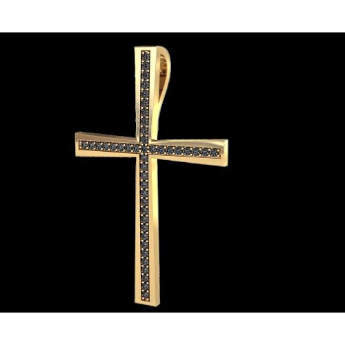 Крест из желтого золота с черными бриллиантами