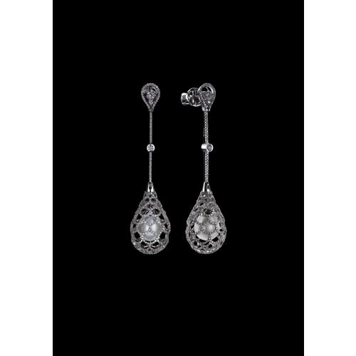 Эксклюзивные серьги Di pearl с жемчугом и бриллиантами
