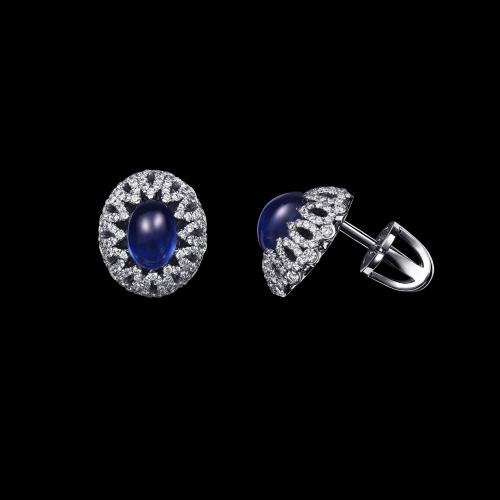 Эксклюзивные серьги с сапфирами и бриллиантами Illusion