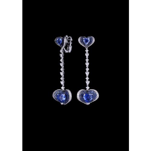 Эксклюзивные серьги с сапфирами и бриллиантами