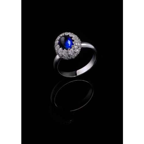 Эксклюзивное кольцо с сапфиром и бриллиантами Illusion