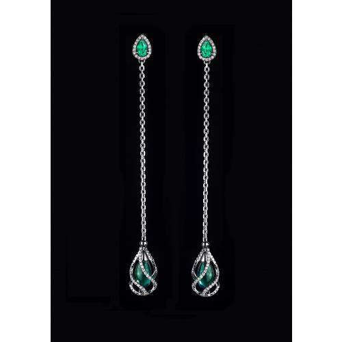 Эксклюзивные серьги с изумрудами и бриллиантами Visizum