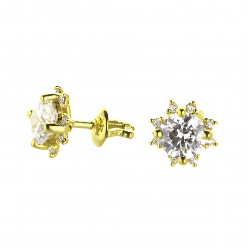 Пусеты из желтого золота с бриллиантами по 0,35 карат