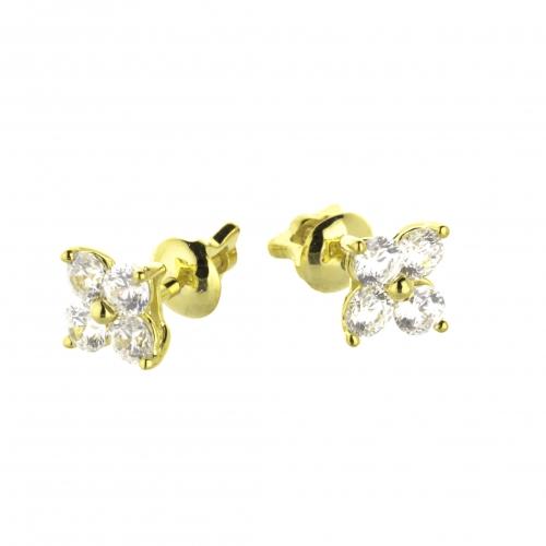 Пусеты из желтого золота с бриллиантами