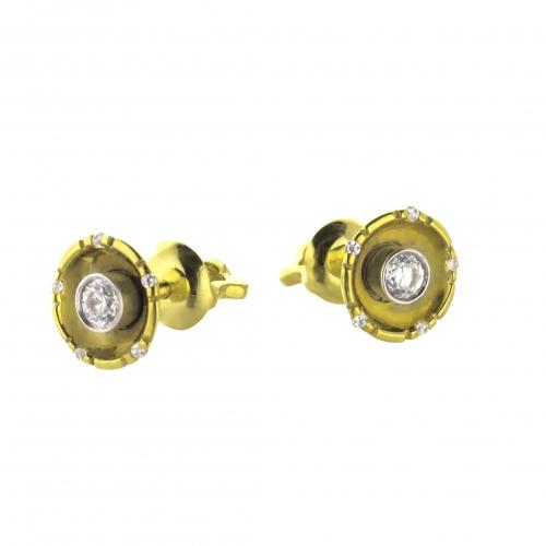 Пусеты из желтого золота с бриллиантами по 0,12 карат