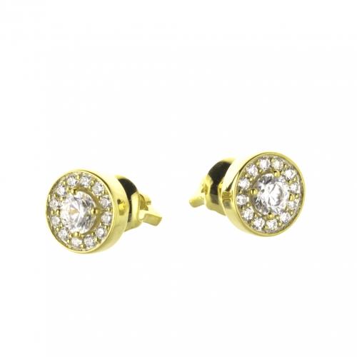Пусеты из желтого золота с бриллиантами по 0,20 карат