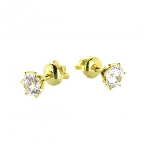 Пусеты из желтого золота с бриллиантами по 0,10 карат