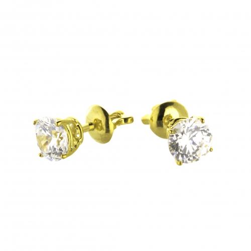 Пусеты из желтого золота с бриллиантами по 0,30 карат