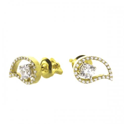 Пусеты из желтого золота с бриллиантами по 0,24 карат