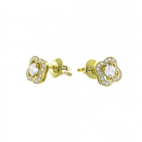 Пусеты из желтого золота с бриллиантами по 0,11 карат