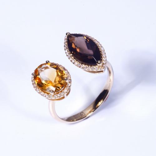 Кольцо из желтого золота с дымчатым топазом, цитрином и бриллиантами