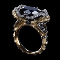 Кольцо Kiss black horned snake с черным бриллиантом 14,84ct. Коллекция buzzard