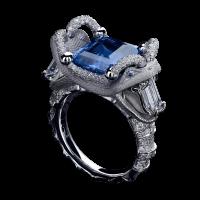 Кольцо с сапфиром фантазийной огранки 9,12ct и бриллиантами. Коллекция buzzard
