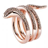 Кольцо в виде змеи из желтого золота с бриллиантами. Коллекция ювелирного дома Damiani